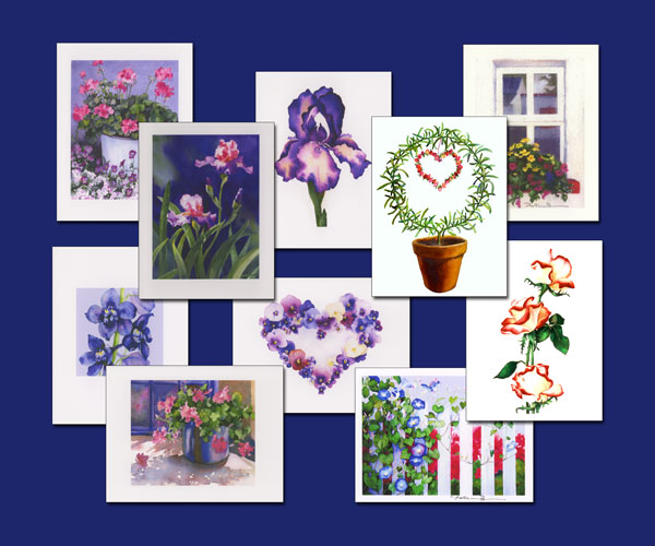 Garden Flowers watercolor note cards