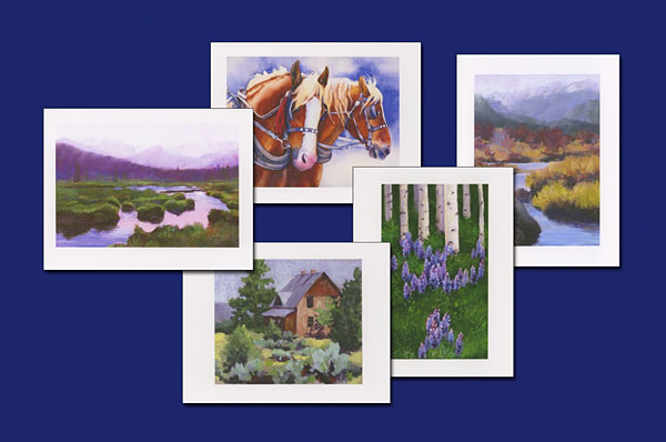 Western watercolor note cards