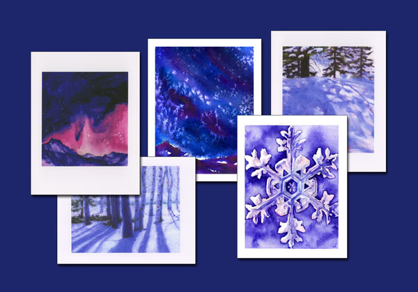 Winter Solstice watercolor note cards