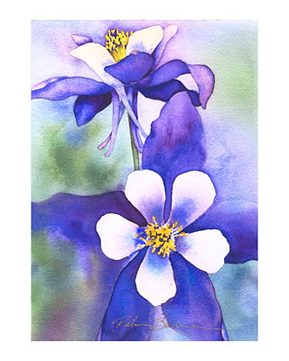 Columbines watercolor note cards