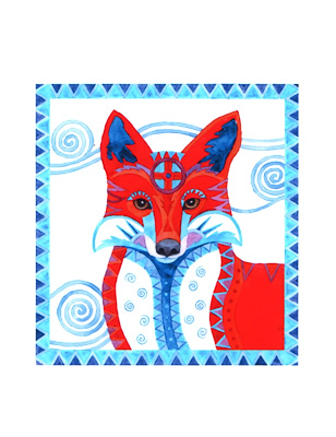 Elegant Red Fox watercolor note cards