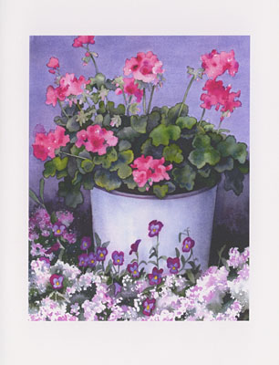 Geranium in Blue Pail watercolor note cards