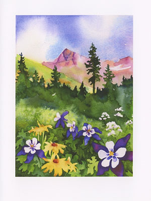 Mt. Windom watercolor note cards